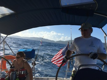 Capt. Jay at the helm and Sweet Christine, leaving St. Thomas for St. Martin