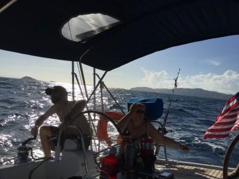 Ryan tuning sails, leaving St. Thomas for St. Martin